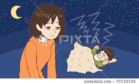 밤 울음 아기, 산후 우울증 엄마 70539589
