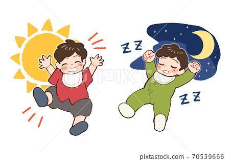 주간 건강하고 밤 푹 아기의 일러스트 70539666