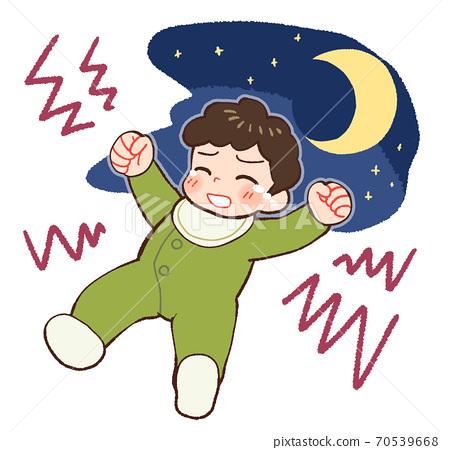 밤 울음 아기 70539668