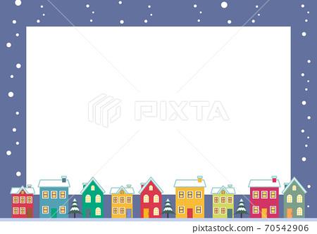 눈 내리는 밤의 거리 풍경 프레임 일러스트 70542906