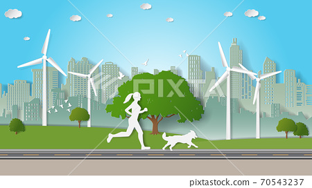 Solo outdoor activities, woman and her dog are running alone in city parks. Vector illustration 70543237