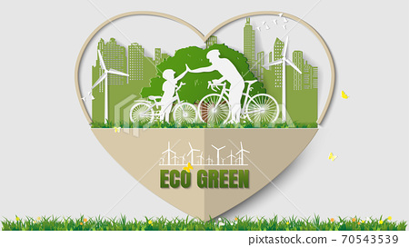 Father and son are to join hands together while do activities cycling in park of green city 70543539