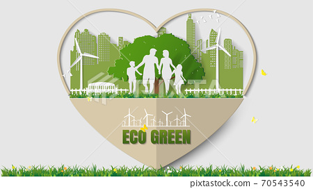 Family are walking in park of green city 70543540