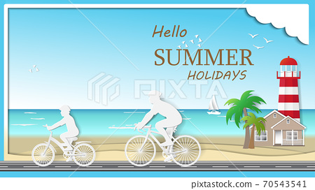Father and son are riding bicycle on the beach 70543541