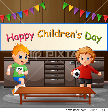 Happy children's day background poster with happy kids 70543641
