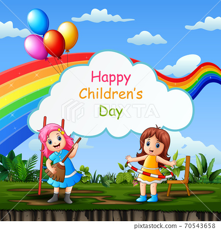 Happy children's day template with kids playing in the park 70543658