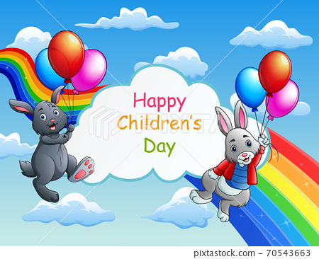 Happy Children's Day with bunnies on blue sky background 70543663