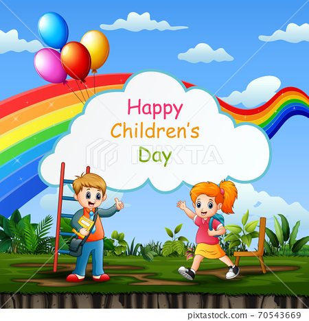 Happy children's day background poster with happy kids 70543669