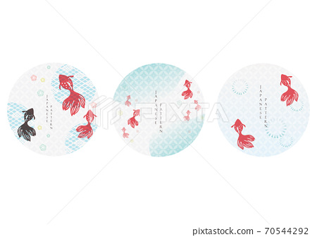 Vector set of Japanese icon and logo template. Geometric pattern in Asian traditional style. Red carp fish and cherry blossom flower elements. 70544292