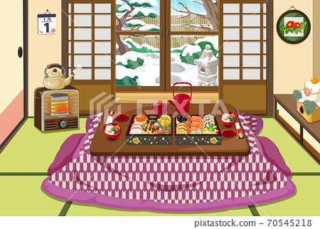 新年素材日本新年風景日式房間炬room 70545218