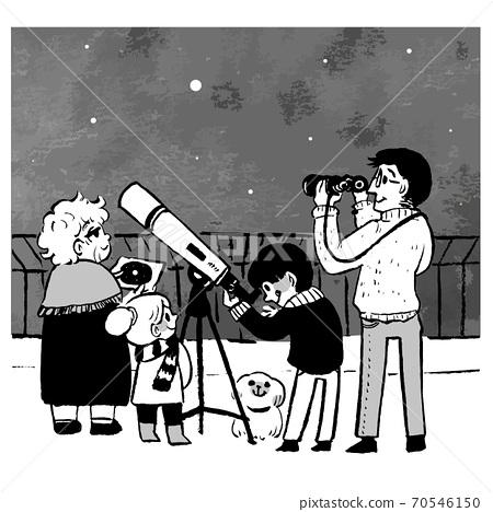 옥상에서 천체 관측을하는 사람들 (흑백) 70546150