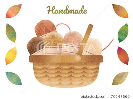 毛線球和色彩鮮豔的秋葉在籃子裡的物質插圖 70547669