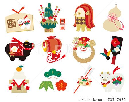 2021年新年賀卡材料Yuen幸運符套裝白色背景 70547983