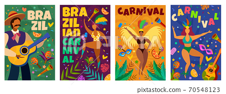Brazilian carnival. Banner with masquerade latino elements dance parade, dancers and musicians, confetti, masks and feathers vector posters 70548123