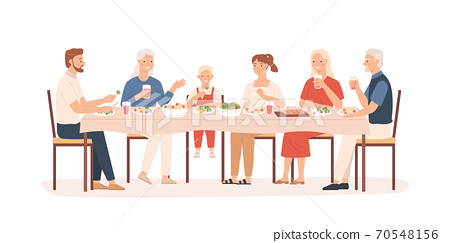 Family dinner. Grandparents, parents and kids sitting at holiday table, happy people eating delicious food, vector concept 70548156
