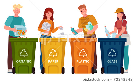 People sorting garbage. Men and women separate waste and throwing trash into recycling bins. Ecology lifestyle vector illustration 70548248