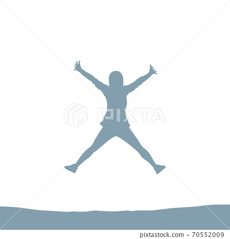 happy jumping girl silhouette isolated on white 70552009
