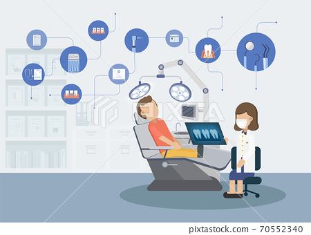Dental clinic with icons 70552340