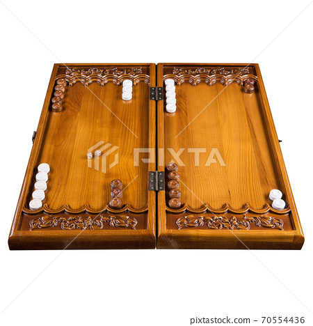wooden backgammon outdoor board, over white background 70554436