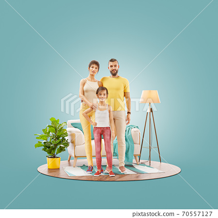 Unusual 3d illustration of a Happy family enjoying a new home. 70557127