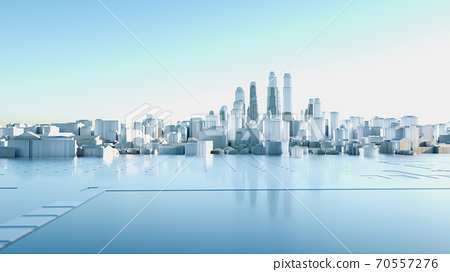 Abstract Modern High Quality City Panorama in Sunny Day 70557276