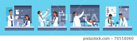 Scientists. Chemical medical researchers, people work in laboratory with professional equipment. Lab workers in white coats, biotechnology and microbiology experiment, vector concept 70558060