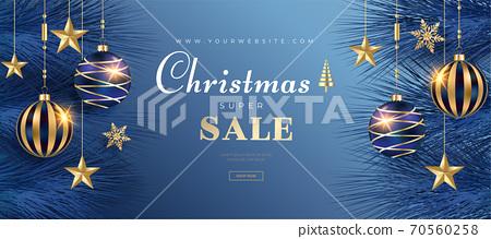 사실적인 크리스마스 세일 배너 템플릿.  크리스마스 프레임  70560258