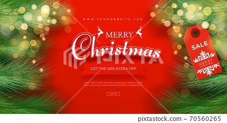 現實的聖誕節銷售橫幅模板。聖誕框架 70560265