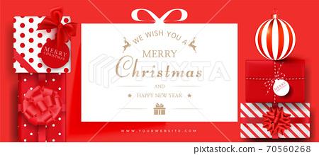 現實的聖誕節銷售橫幅模板。聖誕框架 70560268