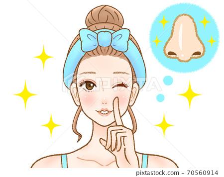 解決毛孔問題的女人 70560914