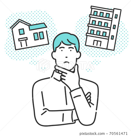 Illustration of a man comparing a detached house and an apartment about his own home 70561471