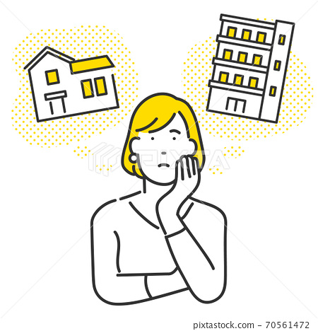 Illustration of a woman worried about her own home in a detached house and an apartment 70561472
