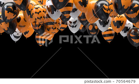 3d render Halloween balloons hitting the ceiling on black background 70564679