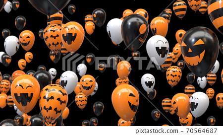 3d render Flying halloween balloons on black background 70564687