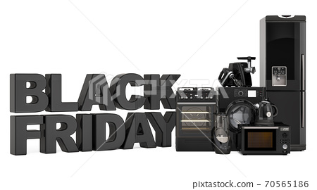 Black Friday concept with kitchen appliances. 3D rendering 70565186
