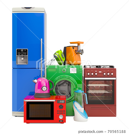 Set of colored kitchen appliances. Washing machine, fridge, gas range, microwave oven, meat grinder, mixer, kettle and hydrogen rich water machine. 3D rendering 70565188
