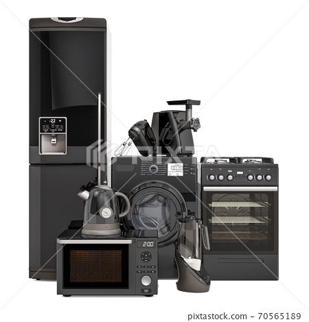Set of black kitchen appliances. Washing machine, fridge, gas range, microwave oven, meat grinder, mixer, kettle and hydrogen rich water machine. 3D rendering 70565189