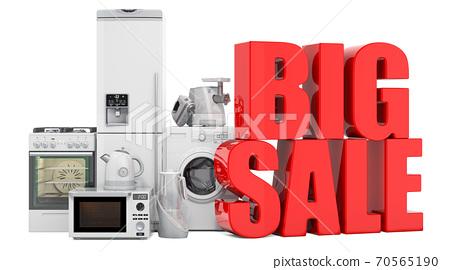 Big sale of kitchen appliances concept. 3D rendering 70565190