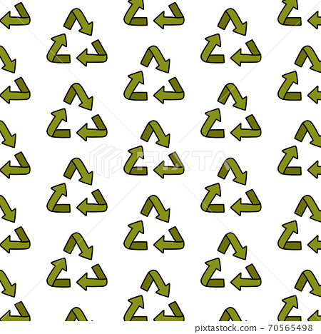 recycling symbol seamless doodle pattern, vector 70565498