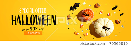 Halloween sale banner with Halloween decorations 70566819