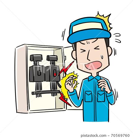 在工作中觸電的男工人 70569760