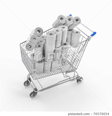toilet paper packages in shopping cart 70570054