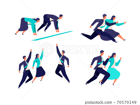 充滿活力的男性和女性商人的插圖 70570149
