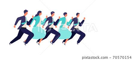 男性和女性的商人運行的插圖 70570154