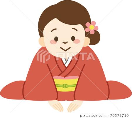 절하는 기모노 차림의 여성 (정면을 향) 70572710