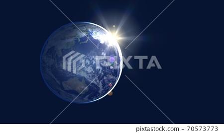지구 새벽 일출 조양 와이드 사이즈 70573773