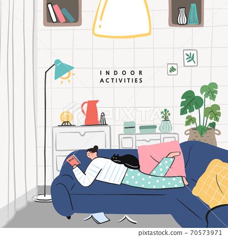 손그림,여름,실내생활,실내활동,사회적거리두기 70573971