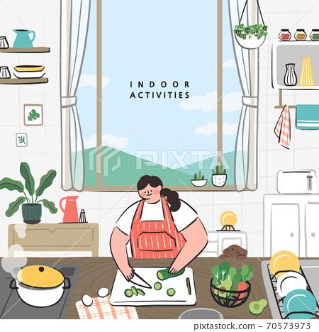 手繪,夏天,室內生活,室內活動,社交距離 70573973