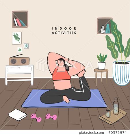 手繪,夏天,室內生活,室內活動,社交距離 70573974