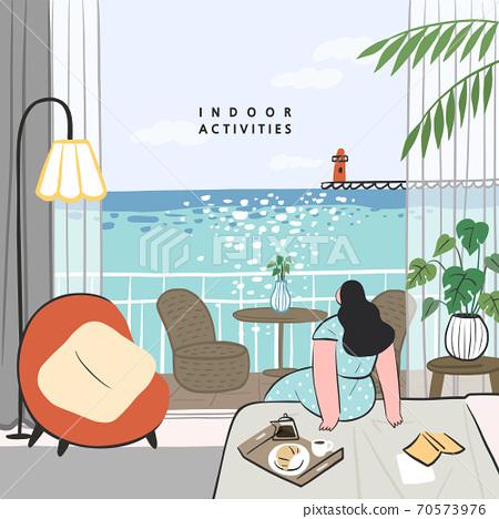 手繪,夏天,室內生活,室內活動,社交距離 70573976